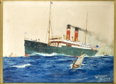The Wilson Line ship the SS Eskimo. Gouache study for a poster. The Eskimo was captured by a German cruiser at Risor in Norway in July 1916.