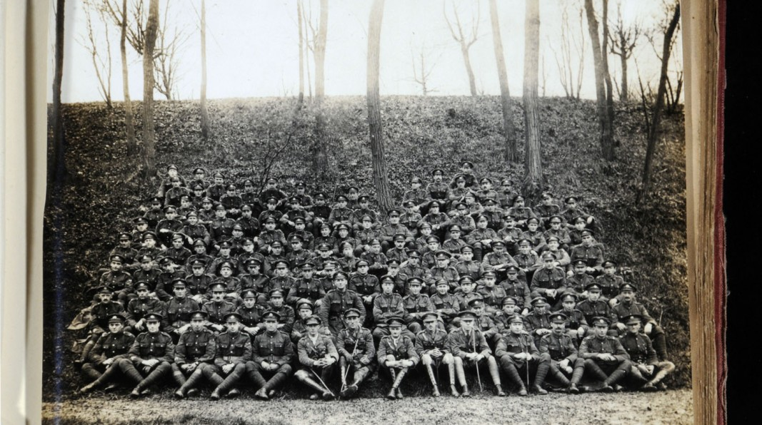 Survivors of the original 10th Battalion, East Yorkshire Regiment ( the Hull Pals) taken at St Omer in December 1918. Originally the battalion would have had 1,007 men. (c) Hull Museums.