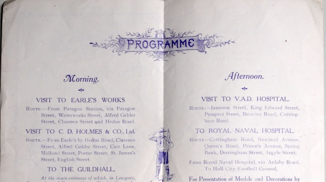 Programme for George V and Queen Mary's visit to Hull. (c) Hull Museums.