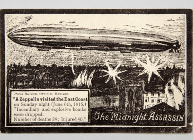 Postcard, 'The Midnight Assassin', commemorating the Zeppelin raid on the East Coast on 6 June 1915. (c) East Riding Museum Service.