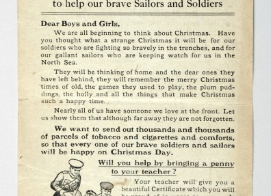 Letter from the Overseas Club appealing to children to bring a penny to school to pay for Christmas parcels for soldiers and sailors at the Front. (c) East Riding Museum Service.