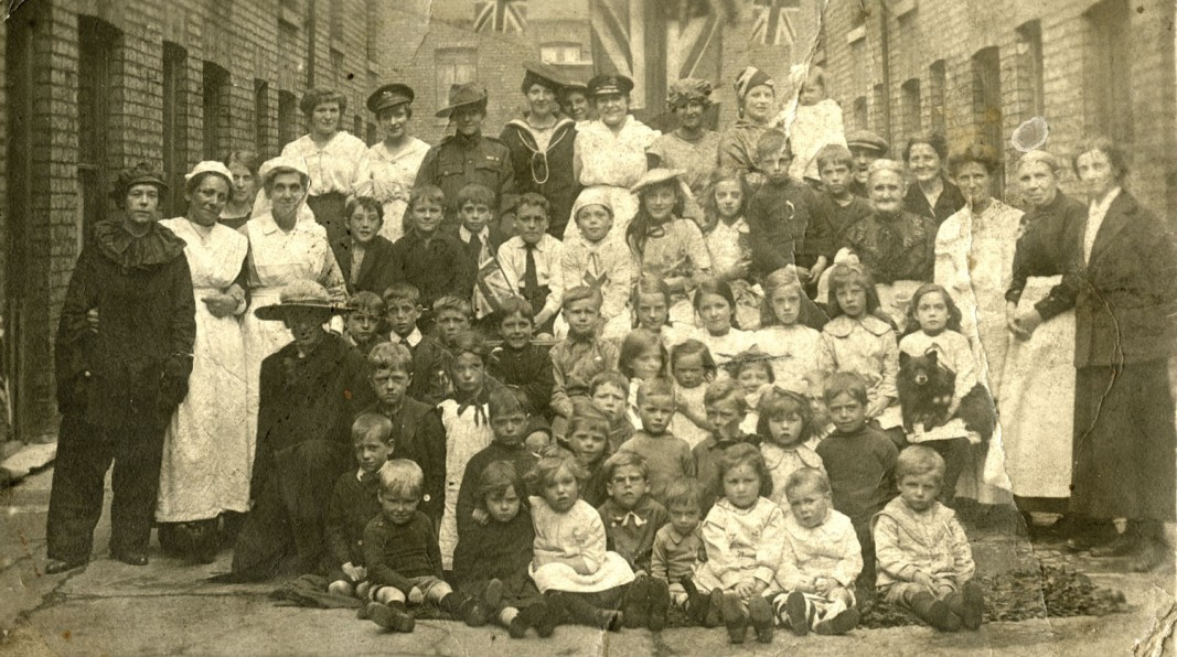 Women and children in Hull celebrate the end of the war. (c) Hull Museums.