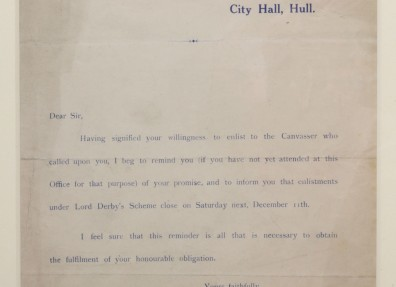 Recruitment letter from Lieutenant Douglas Boyd in Hull. Letters like this were sent to men who had told a canvasser they were willing to enlist. (c) Hull Museums.
