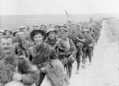 Still from a film taken during the Battle of the Somme showing the Hull Commercials. (c) IWM (IWM FLM 1657).