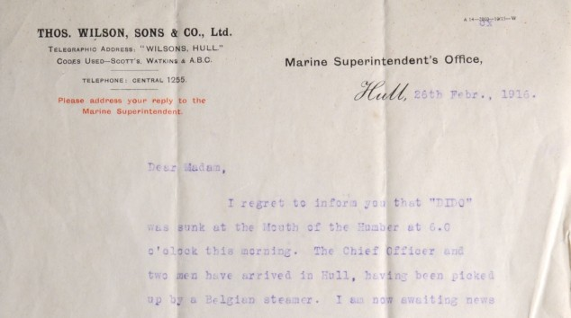 Telegram from the Marine Superintendent's Office informing Ada Altoft of the loss of the Dido. (c) Hull Museums.